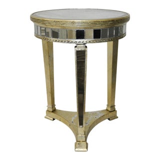 Vintage Mirrored Side Table w/ Silver Leaf & Gold Tone c.1970s