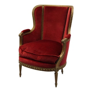French Red Mohair Bergere Chair