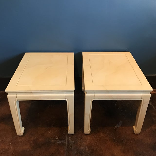 Henredon Goatskin Lacquered End Tables - a Pair - Image 5 of 9