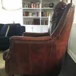 Image of Crackled Leather Pillow Back Chair