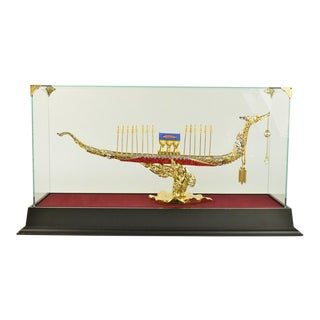 24k Gold Plated Ship Sculpture
