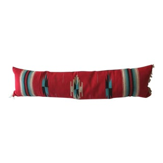 Large Hand-Woven, Mexican Serape Bolster Pillow