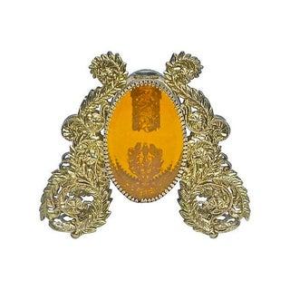 Vintage Brass & Amber Acrylic Perfume Bottle