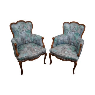 Vintage French Bergere Arm Chairs - A Pair