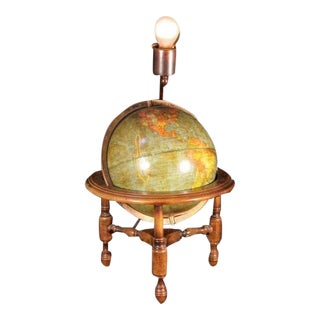 Antique George F Cram Globe on Stand Table Lamp