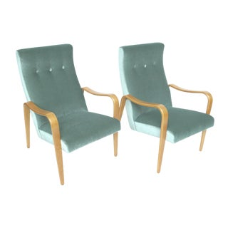 Thonet Mid Century Bentwood Mohair Lounge Chairs - a Pair