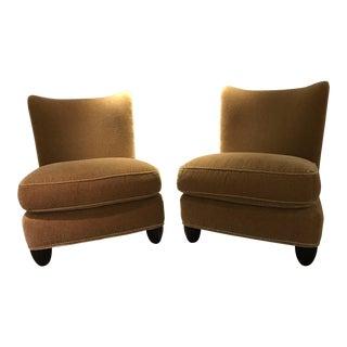 Barbara Barry Golden Mohair Slipper Chairs - a Pair