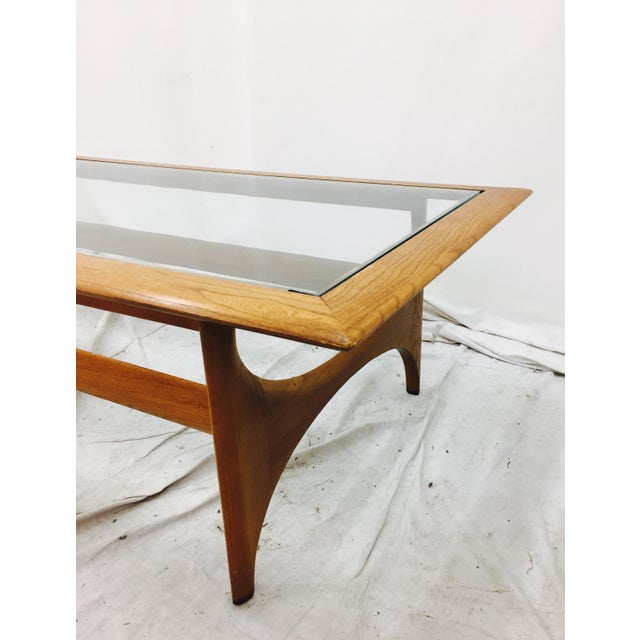 Lane Mid-Century Walnut & Glass Top Coffee Table