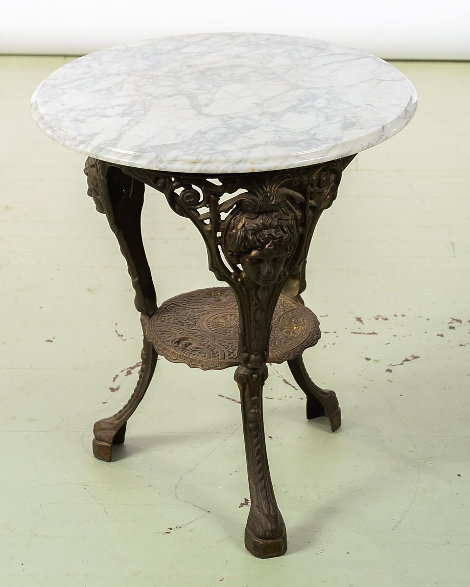 Antique English Cast Iron Pub Bistro Table W/Round Marble Top   Image 9 Of