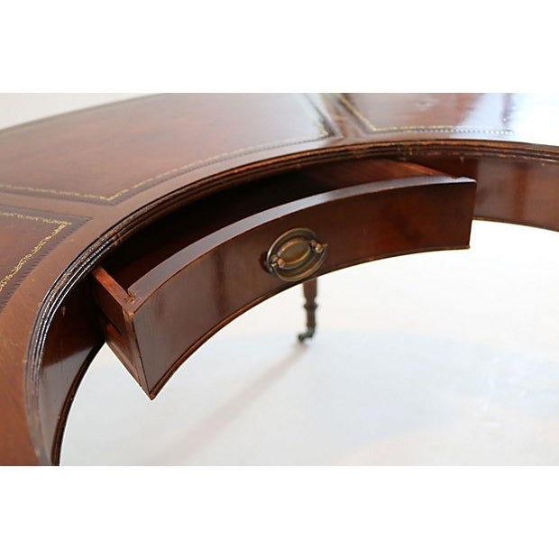 Mahogany & Leather Demilune Table - Image 6 of 9