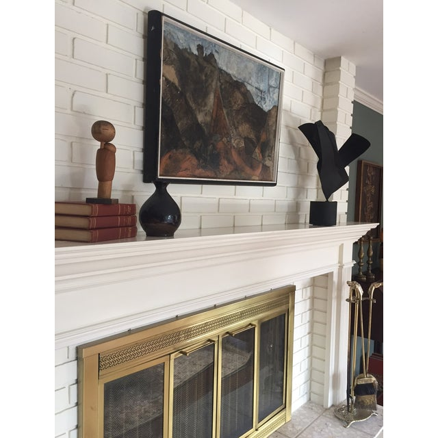 Image of Mid Century Mixed Media Abstract Painting