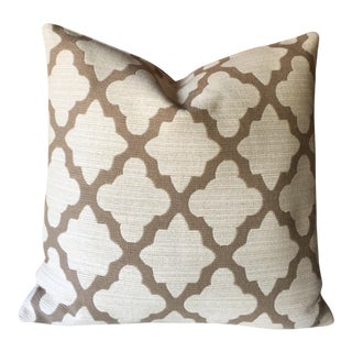 Tan & White Robert Allen Upholstery Pillow Cover