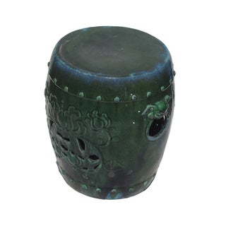 Chinese Green Round Lotus Clay Garden Stool