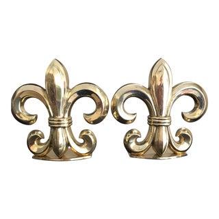 Fleur De Lis Solid Brass Bookends