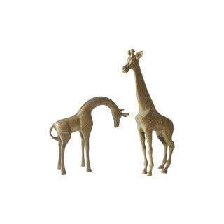 Brass Giraffe Statues - A Pair