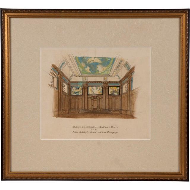 Art Deco Board Room Rendering Illustration - Image 1 of 3