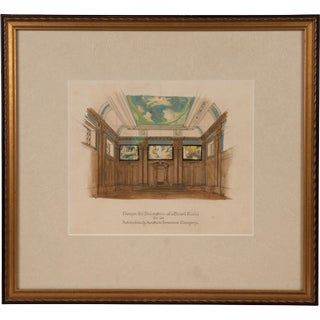 Art Deco Board Room Rendering Illustration