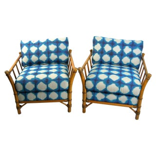 1950s Rattan Club Chairs - A Pair