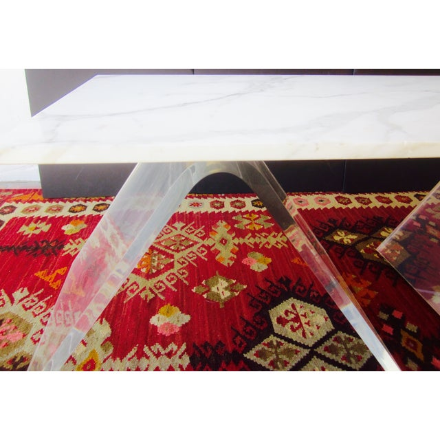 Italian Lucite & Marble Coffee Table - Image 7 of 11