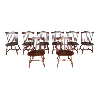 L Hitchcock Harvest Stenciled New London Windsor Style Dining Chairs - Set of 8