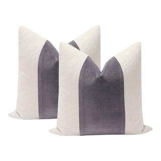 "22"" Smokey Amethyst Velvet Panel & Linen Pillows - A Pair"