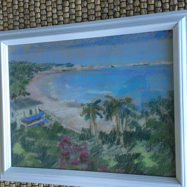 Original Oil Pastel Carribean Coastal Seascape Framed Art - Image 9 of 10