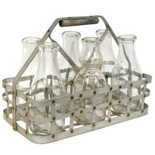 Vintage 6-Bottle Metal Bottle Carrier