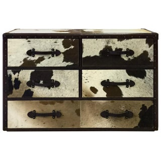 Black & White Cowhide & Leather Rustic Five Drawer Chest