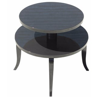 French Art Deco Black Lacquer Side Table