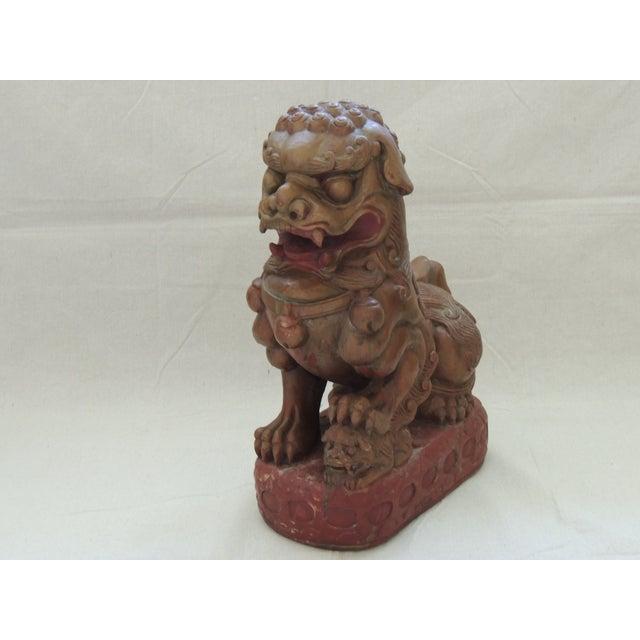 Vintage Wood Carved Foo Dog - Image 2 of 5