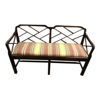 Striped Upholstery Bench Dark Wood Open Slat Back
