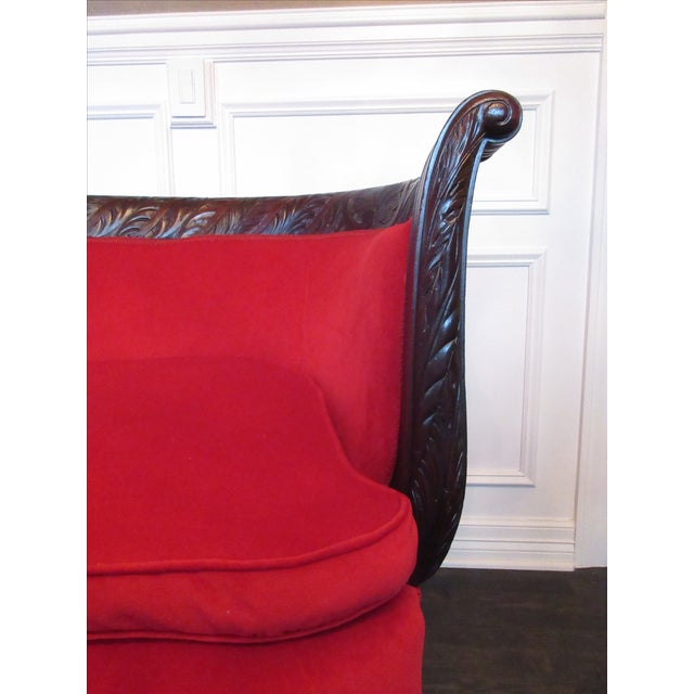 Antique Wood Carved & Red Fabric Sofa - Image 4 of 9