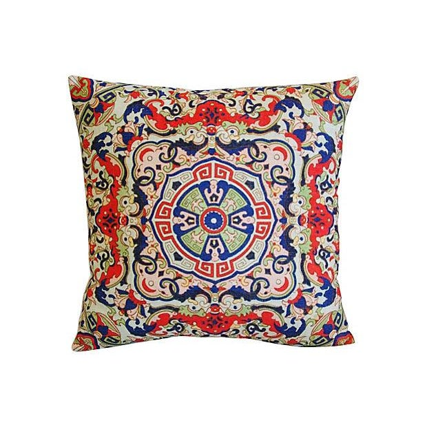 Asian Floral Medallion Linen Pillows - Pair - Image 3 of 7