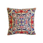 Image of Asian Floral Medallion Linen Pillows - Pair