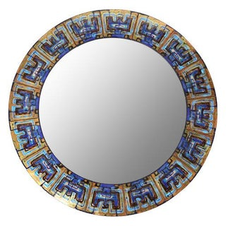 DANISH ENAMELED-TILE MIRROR BY BODIL EJE, CIRCA 1960S