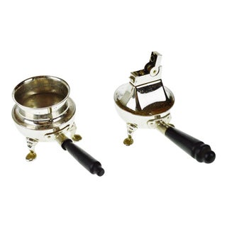 Vintage Rhodium Finish Lighter & Ashtray Set