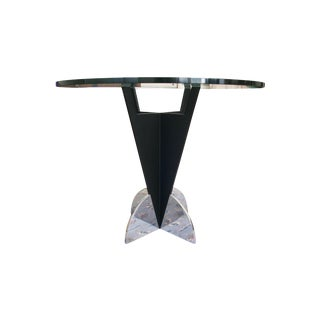 Saporiti Black Pedestal Glass Top Dining Table