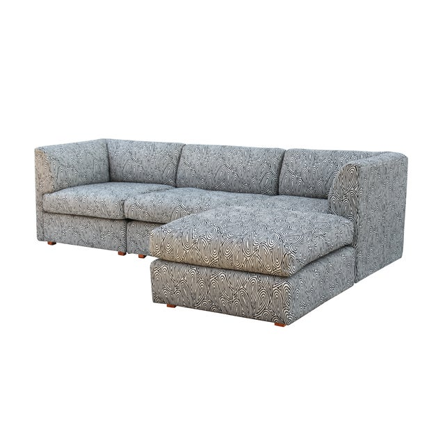 Milo baughman style sectional sofa 4 pcs chairish for 4 pcs sectional sofa