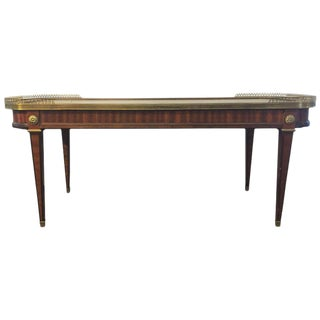 Maison Jansen French Bronze Pierced Gallery Marble-Top Coffee or Low Table