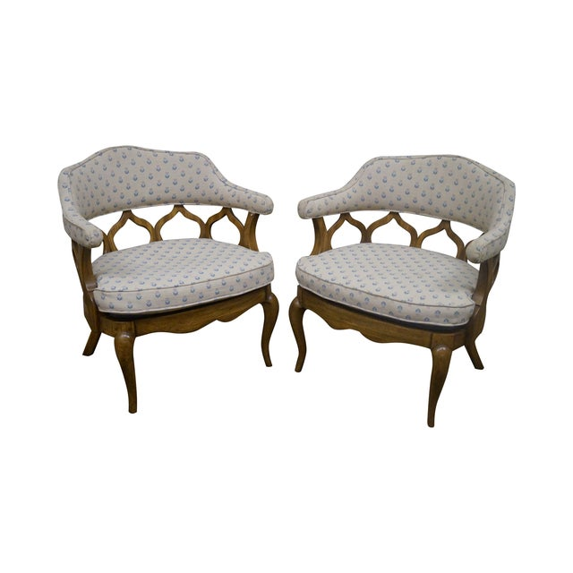 Walnut Barrel Back Club Lounge Chairs - A Pair - Image 1 of 10