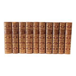 Danish Leather-Bound Books, S/10
