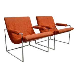 Milo Baughman Chrome Scoop Lounge Chairs