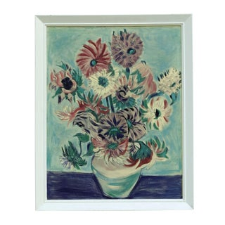 Framed Floral Still Life Painting
