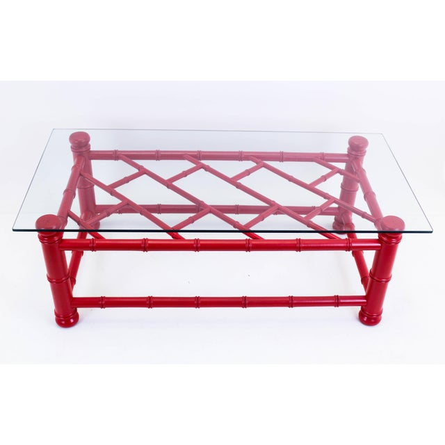 Palm Beach Style Coral Red Coffee Table - Image 9 of 9