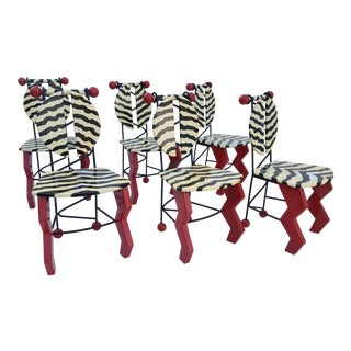 Signed - THOR - Memphis Style Pop Art Dining Chairs Set Of - 6 .