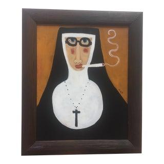 """Rose Walton """"Smoking Nun"""" Original Painting"""