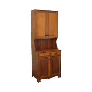 Mid Century Studio Crafted Solid Walnut Step Back Cupboard Cabinet W/ Drawers