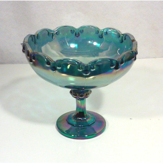 Image of Peacock Lustre Glass Compote