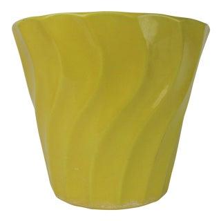 Vintage Yellow Bauer Swirl Flower Pot Size 8