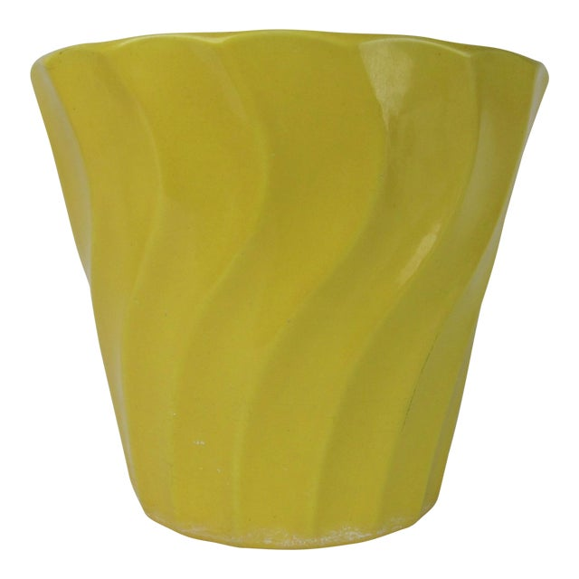 Vintage Yellow Bauer Swirl Flower Pot Size 8 - Image 1 of 6